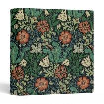William Morris Compton Floral Art Nouveau Pattern 3 Ring Binder