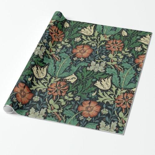 William Morris Compton Floral Art Nouveau Pattern Wrapping Paper