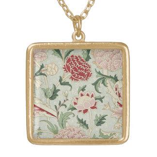 William Morris Cray Floral Pre-Raphaelite Vintage Square Pendant Necklace