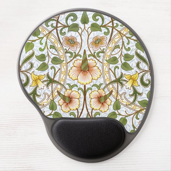 William Morris Daffodil Floral Chintz Pattern Gel Mouse Pad