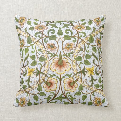 William Morris Daffodil Pattern Throw Pillow