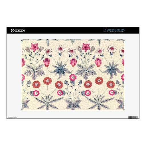 """William Morris Daisy Floral Pattern Red Orange 13"""" Laptop Decal"""