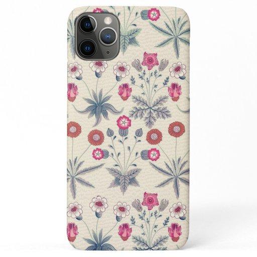 William Morris Daisy Floral Pattern Red Orange iPhone 11 Pro Max Case
