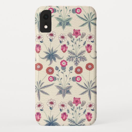 William Morris Daisy Floral Pattern Red Orange iPhone XR Case