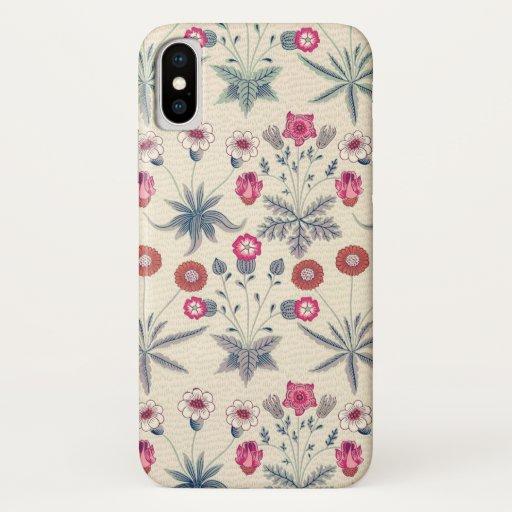 William Morris Daisy Floral Pattern Red Orange iPhone X Case