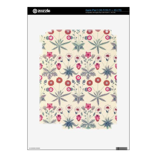 William Morris Daisy Floral Pattern Red Orange Decal For iPad 3