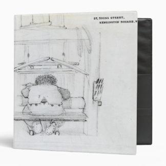 William Morris en su telar, caricatura