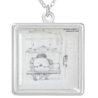 William Morris en su telar, caricatura Pendiente
