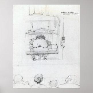 William Morris en su telar, caricatura Posters