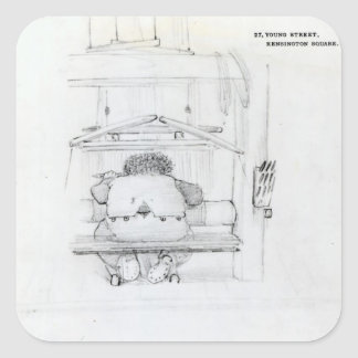 William Morris en su telar, caricatura Calcomania Cuadradas Personalizada
