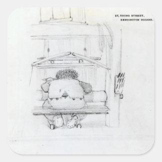 William Morris en su telar, caricatura Pegatina Cuadrada
