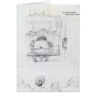 William Morris en su telar, caricatura Tarjetón