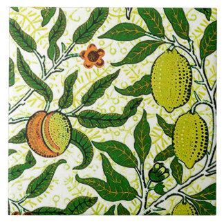 William Morris Exotic Fruit, Lemon Yellow Ceramic Tile