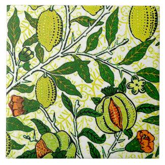 William Morris Exotic Fruit, Lemon Yellow & Coral Ceramic Tile