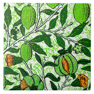 William Morris Exotic Fruit, Lime Green & Coral Ceramic Tile