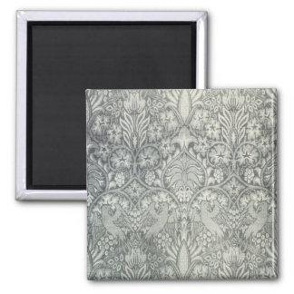 William Morris Fabric Design Greeting Card 2 Inch Square Magnet