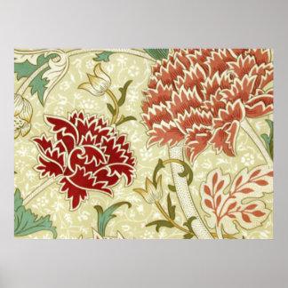 William Morris Fine Red Floral Wallpaper Poster