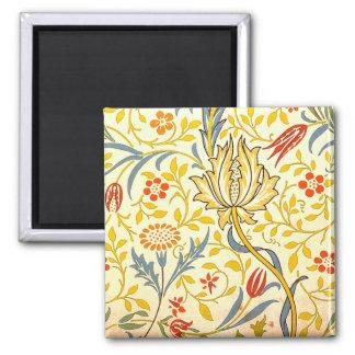 William Morris Flora Floral Wallpaper Pattern 2 Inch Square Magnet