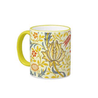 William Morris Flora Floral Wallpaper Pattern Ringer Mug
