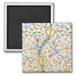 William Morris Flora Vintage Floral Art Nouveau 2 Inch Square Magnet