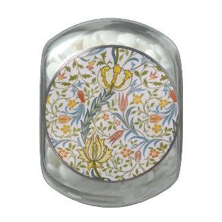 William Morris Flora Vintage Floral Art Nouveau Glass Jar