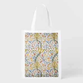 William Morris Flora Vintage Floral Art Nouveau Reusable Grocery Bag