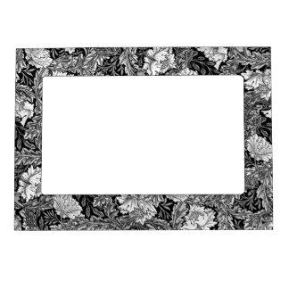 William Morris Floral, Black, White & Gray / Grey Magnetic Photo Frame