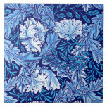 """William Morris Floral, Cobalt Blue and White Ceramic Tile<br><div class=""""desc"""">Tile in a William Morris Art Nouveau textile pattern,  digitally enhanced and colored - stylized peonies and leaves in shades of cobalt blue,  light sky blue,  and white,  against a dark indigo blue background</div>"""