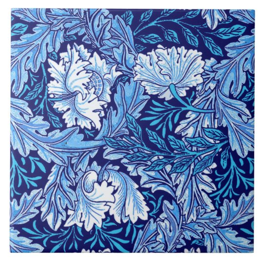William Morris Floral Cobalt Blue And White Ceramic Tile