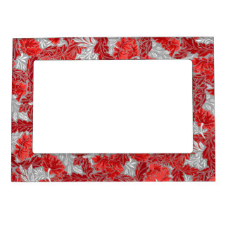 William Morris Floral, Deep Red and Gray / Grey Magnetic Photo Frame