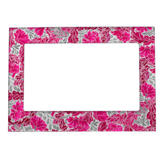 William Morris Floral, Fuchsia Pink & Gray / Grey Magnetic Photo Frame