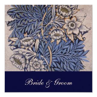 "William Morris Floral Pattern Wedding Invitations 5.25"" Square Invitation Card"