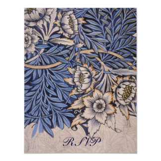 """William Morris Floral Pattern Wedding Reply Cards 4.25"""" X 5.5"""" Invitation Card"""