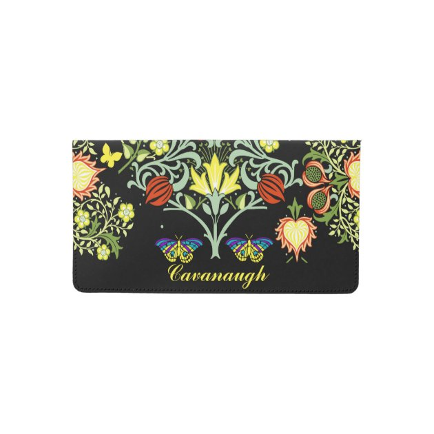 Swirly Floral Vinyl Passport Holder Personalized
