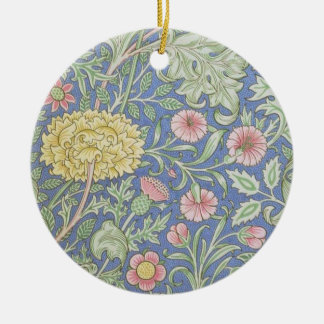 William Morris Floral Wallpaper, designed in 1890 Double-Sided Ceramic Round Christmas Ornament