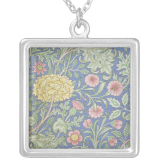 William Morris Floral Wallpaper, designed in 1890 Square Pendant Necklace