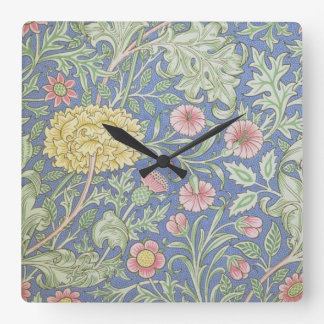 William Morris Floral Wallpaper, designed in 1890 Square Wall Clock