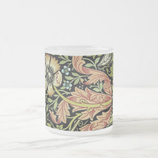 William Morris Flower design Frosted Glass Coffee Mug