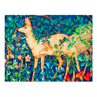 William Morris Forest Deer Tapestry Print Postcard