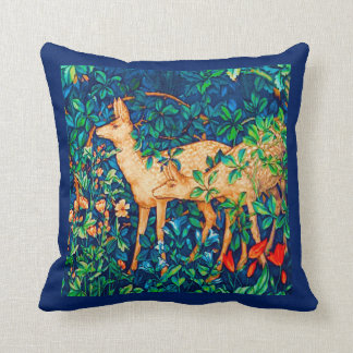 William Morris Forest Deer Tapestry Print Throw Pillow
