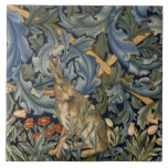 """William Morris Forest Rabbit Floral Art Nouveau Ceramic Tile<br><div class=""""desc"""">William Morris Forest Rabbit Floral Art Nouveau  Beautiful ornate artistic floral vintage fine art pattern tapestry design featuring a hare among leaves,  wildflowers and acanthus foliage. Movement: Arts and Crafts See more of our William Morris products at https://www.zazzle.com/artfoxx</div>"""