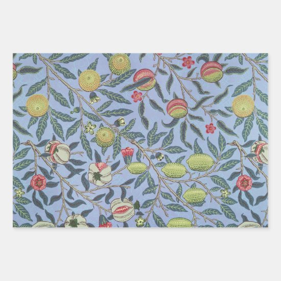 William Morris Fruit Pomegranate Blue Ornament Wrapping Paper Sheets