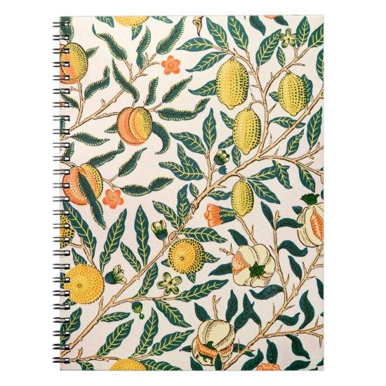William Morris Fruit Pomegranate White Ornament Notebook