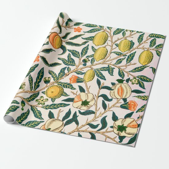 William Morris Fruit Pomegranate White Ornament Wrapping Paper