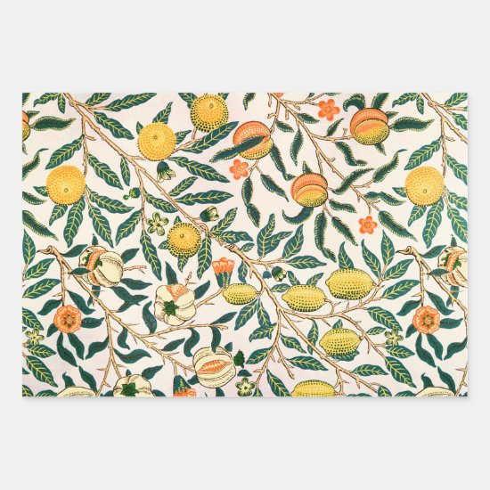 William Morris Fruit Pomegranate White Ornament Wrapping Paper Sheets