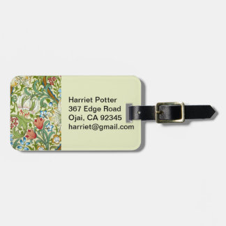 William Morris Garden Lily Wallpaper Luggage Tag
