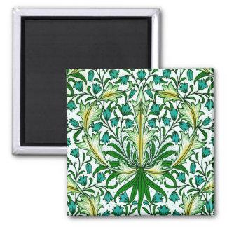 William Morris Gold Aqua Floral Wallpaper 2 Inch Square Magnet