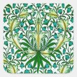 William Morris Gold Aqua Floral Wallpaper Square Stickers