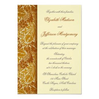 "William Morris Gold Leaves Wedding Invitation 5"" X 7"" Invitation Card"
