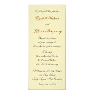 "William Morris Gold Leaves Wedding Invitation 4"" X 9.25"" Invitation Card"